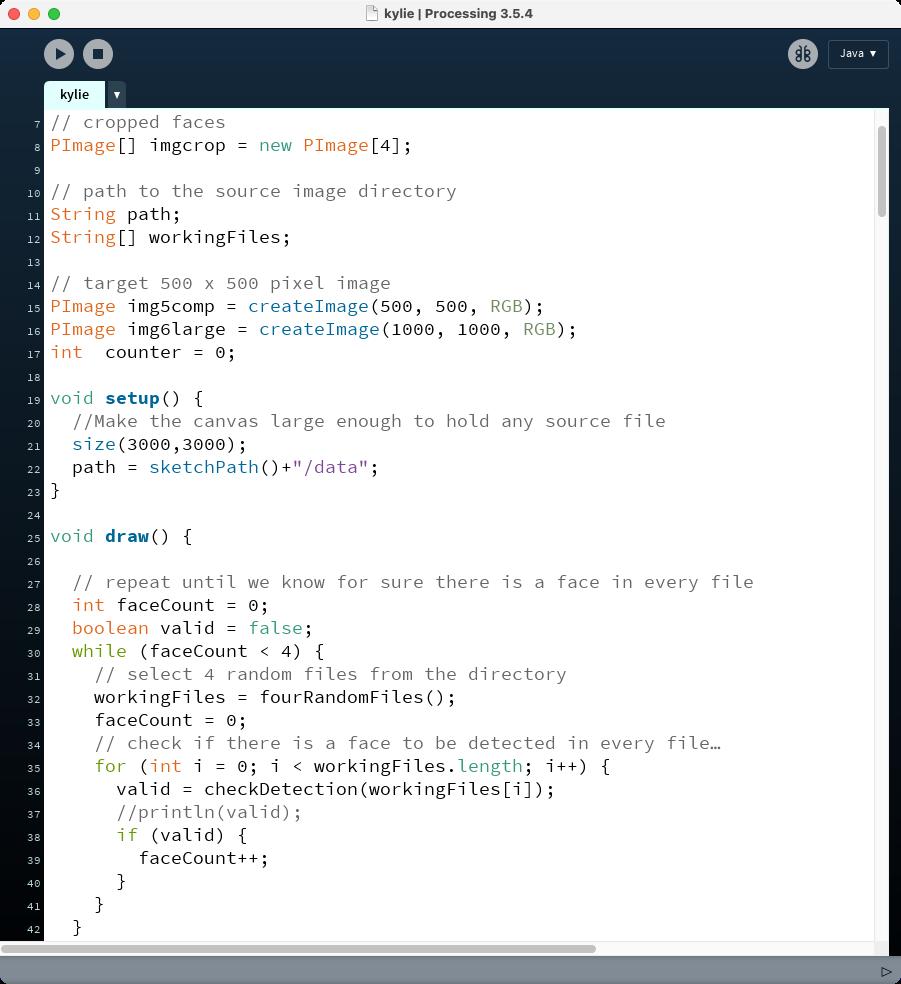 Processing code