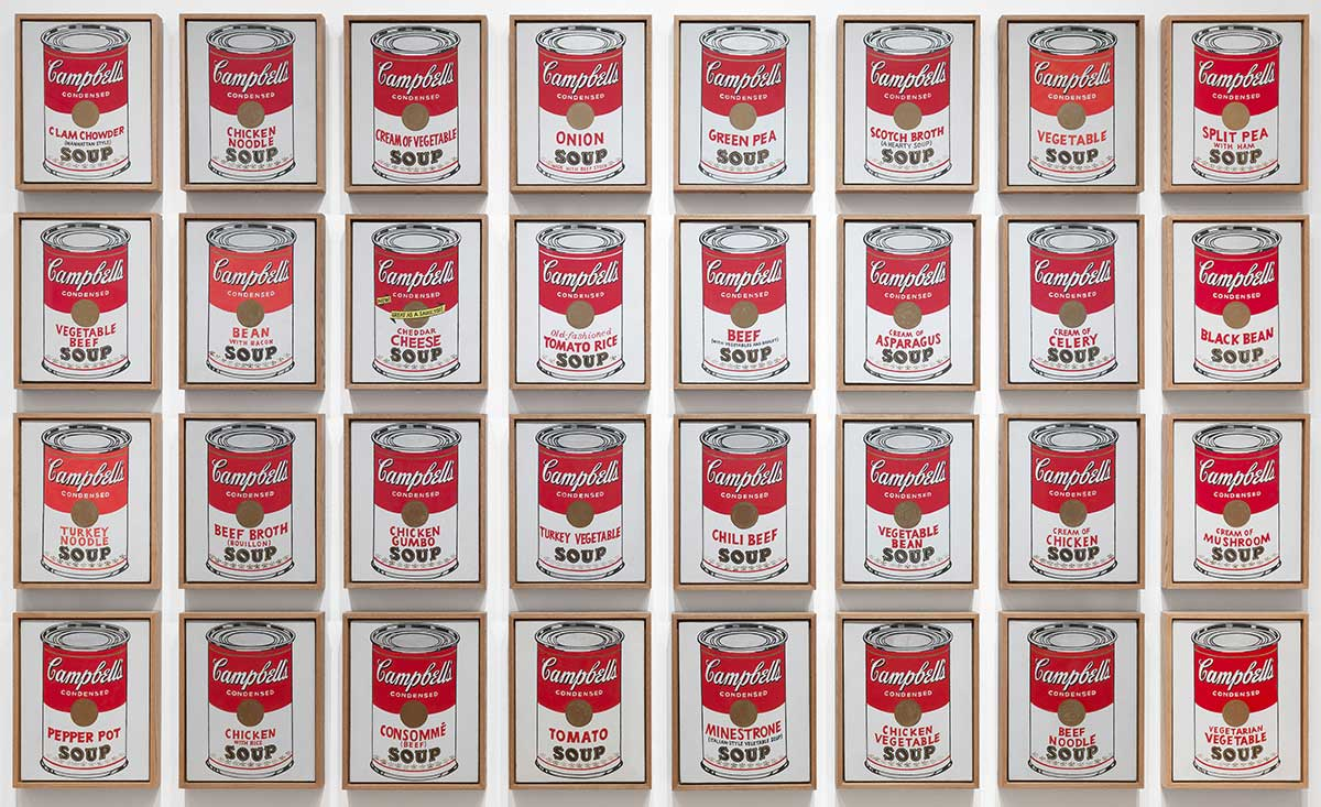 Andy Warhol, 32 Campbell's Soup Cans, in MOMA, NY